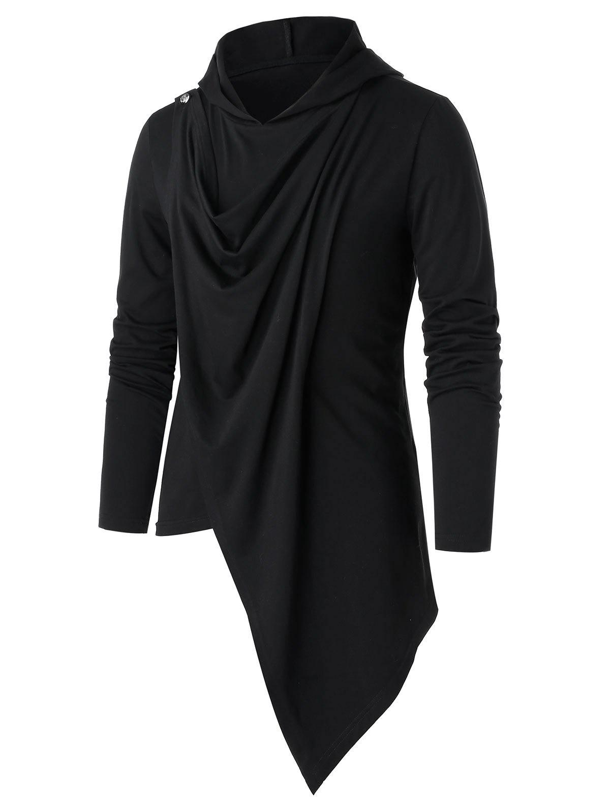 Buy Asymmetric Button Embellished Draped Pullover Hoodie