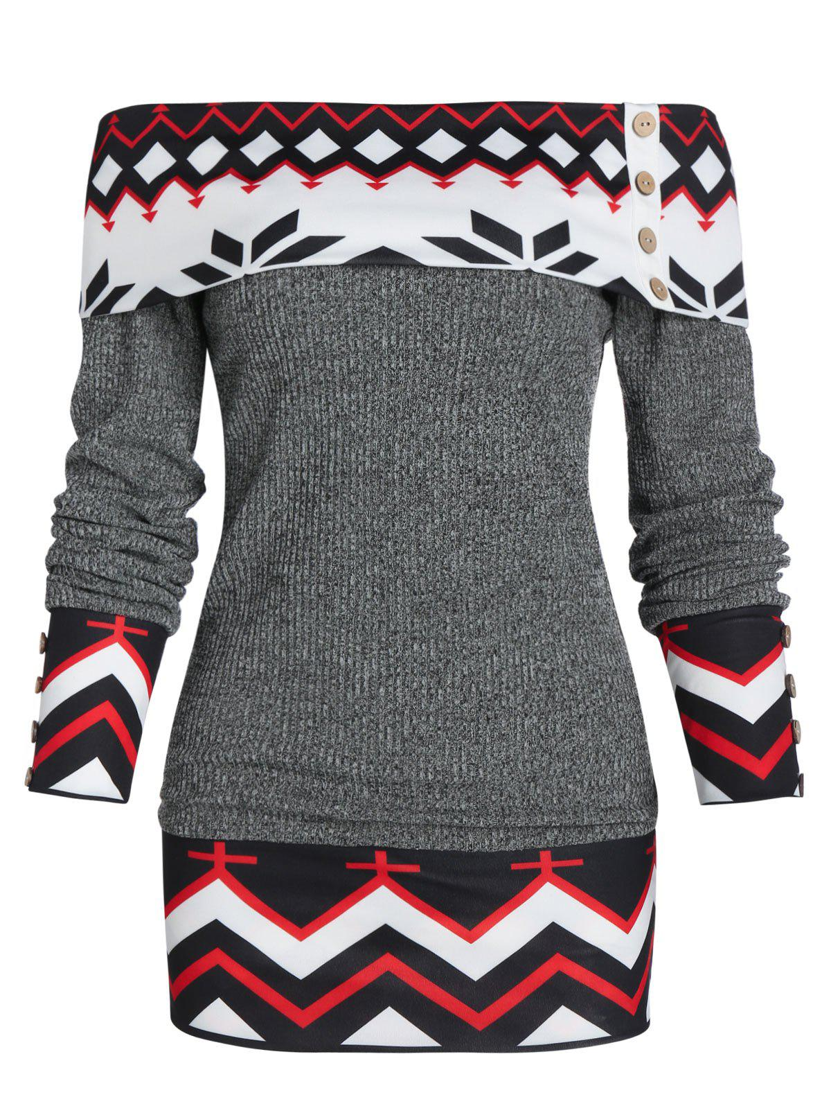 Latest Off Shoulder Geometric Foldover Knit Sweater