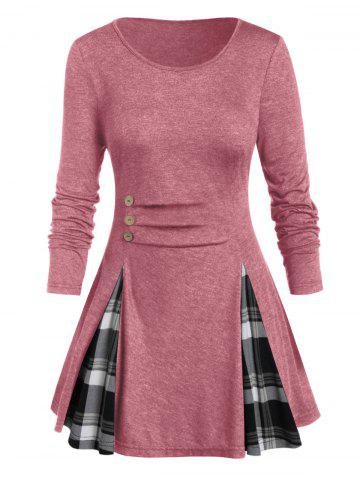 Plus Size Plaid Panel Buttoned A Line Tunic Tee