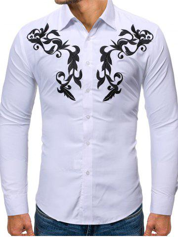 Embroidered Button Up Long-sleeved Shirt - WHITE - S