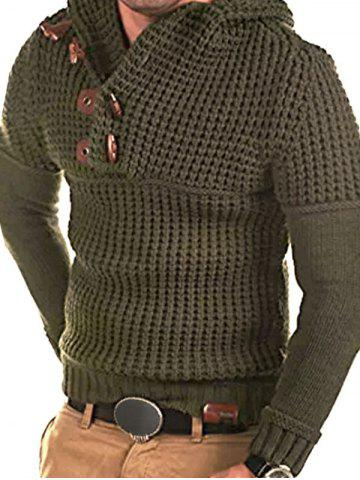 Horn Button Decoration Pullover Sweater - ARMY GREEN - S