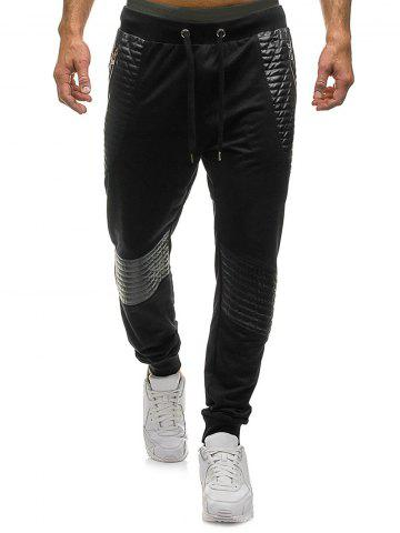Pleated Patchwork Splicing Drawstring Sport Jogger Pants