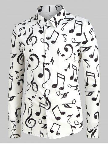 Plus Size Music Notes Print Long Sleeve Festival Shirt