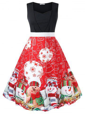 Plus Size Christmas Printed Vintage Party Dress - RED - 5X