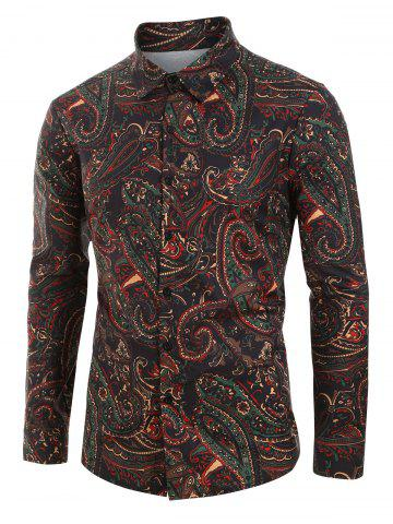 Plus Size Paisley Print Button Up Long Sleeve Shirt