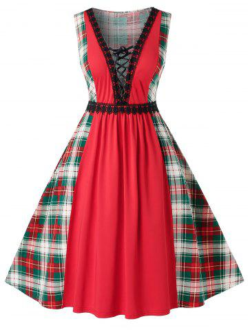 Plus Size Vintage Low Cut Lace Up Plaid Pin Up Dress