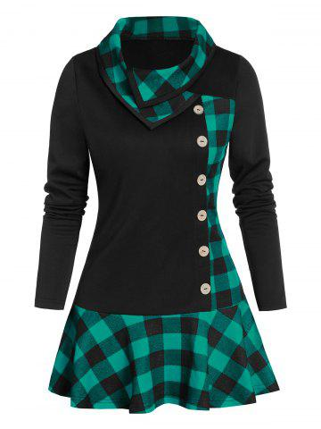 Plaid Print Ruffle Hem Mock Button Tunic T-shirt