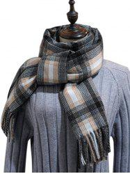 British Style Plaid Fringe Long Scarf -