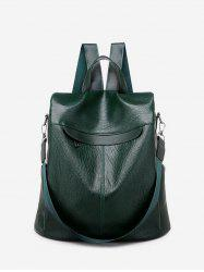 Solid Leather Glossy Big Backpack -