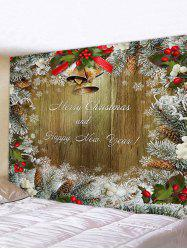 Christmas Tree Branch and Greeting Print Tapestry Wall Hanging Art Decoration -