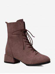 Plain Lace Up Suede Ankle Boots -