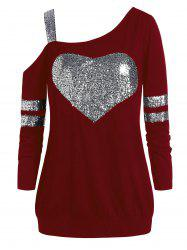 Plus Size Glitter Skew Neck Tunic Sweatshirt -