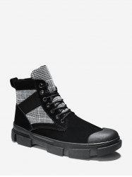 Houndstooth Panel Lace Up Cargo Boots -