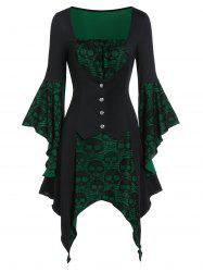 Halloween Skull Lace Insert Poet Sleeve Handkerchief Faux Twinset Dress -