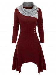 Cowl Neck Mock Button Knitted Midi Dress -