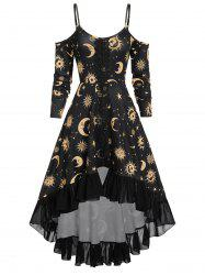 Spaghetti Strap Open Shoulder Sun and Moon Print Gothic Dress -
