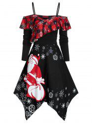 Cold Shoulder Ruffled Santa Claus Print Christmas Dress -
