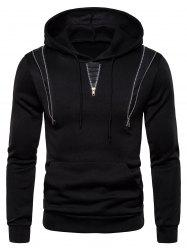 Zipper Decorated Color Spliced Casual Hoodie -