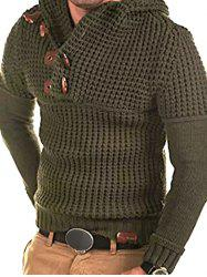 Horn Button Decoration Pullover Sweater -