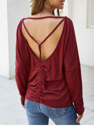 Open Back Cinched Long Sleeves Tee -