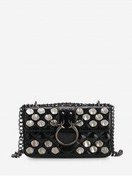 Metal Studded Quilted Crossbody Bag -