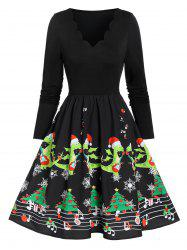 Vintage Christmas Printed Scalloped Pin Up Dress -