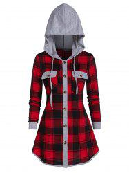 Hooded Plaid Print Button Up Double Pocket Shirt -