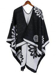 Ethnic Color-blocking Floral Print Long Shawl -