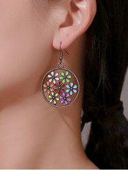 Archaic Flower Hollow Round Earrings -