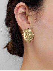 Geometric Head Portrait Engraved Stud Earrings -