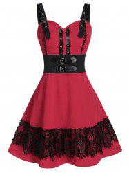 Buckle Grommets Fit and Flare Dress -