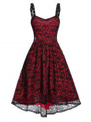 Eyelet Buckle Skull Lace High Low Party Dress -