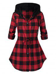 Plus Size Hooded Roll Up Sleeve Drawstring Plaid Blouse -