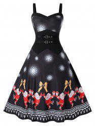 Plus Size Christmas Printed Vintage Swing Dress -