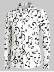 Plus Size Music Notes Print Long Sleeve Festival Shirt -
