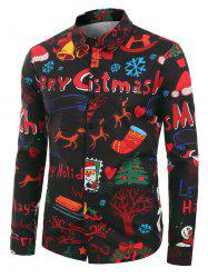 Plus Size Christmas Cartoon Print Button Up Long Sleeve Shirt -