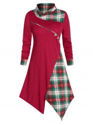 Asymmetrical Plaid Buttons Midi Dress -