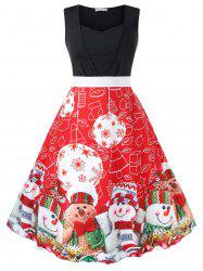 Plus Size Christmas Printed Vintage Party Dress -