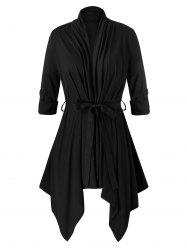 Plus Size Roll Up Sleeve Belted Asymmetric Cardigan -