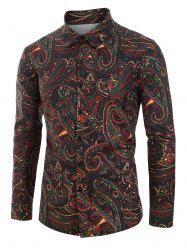 Plus Size Paisley Print Button Up Long Sleeve Shirt -