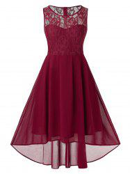 Plus Size Lace Insert High Low Party Dress - Rouge Vineux 3X