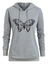 Plus Size Butterfly Print Pullover Hoodie -