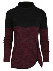 Mock Neck Heathered Casual Knitwear -