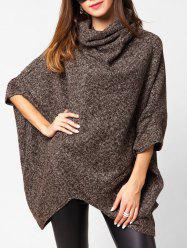 Cowl Neck Heathered Longline Cape Sweater -