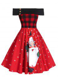 Off The Shoulder Plaid Santa Claus Print Christmas Dress -