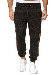 Houndstooth Print Side Stripe Jogger Pants -