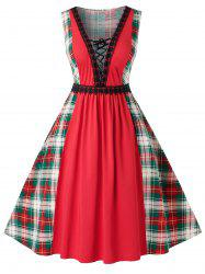 Plus Size Vintage Low Cut Lace Up Plaid Pin Up Dress -