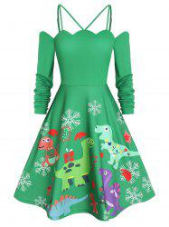 Dinosaur Print Christmas Fit and Flare Dress -