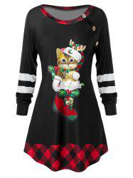 Plus Size Christmas Funny Cat Plaid Raglan Sleeve Tunic Tee -