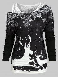 Christmas Elk Snowflake Tee and Lace Tank Top Set -
